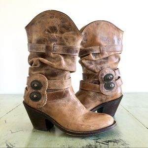 99c92963281 Johnny Ringo Tan Cinch Slouch Western Cowgirl Boot